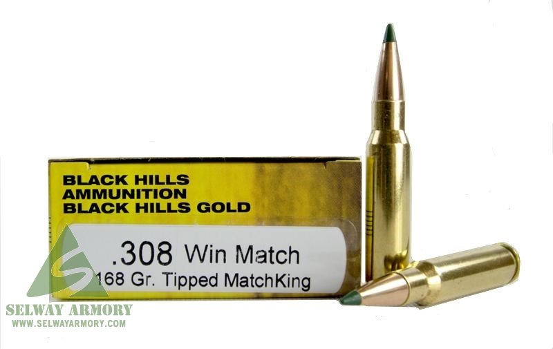Black Hills Gold  308 Winchester 168 Gr  Match Sierra Tipped