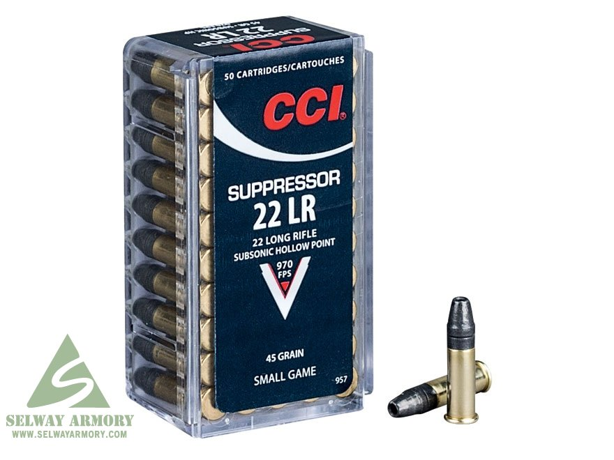 CCI Suppressor .22 Long Rifle 45 Gr. Subsonic Lead Hollow Point 957