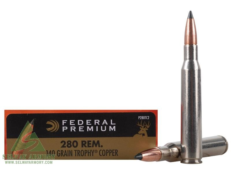 Federal Premium Vital-Shok .280 Remington 140 Gr. Trophy Copper Tipped Boat Tail- Lead-Free- Box of 20
