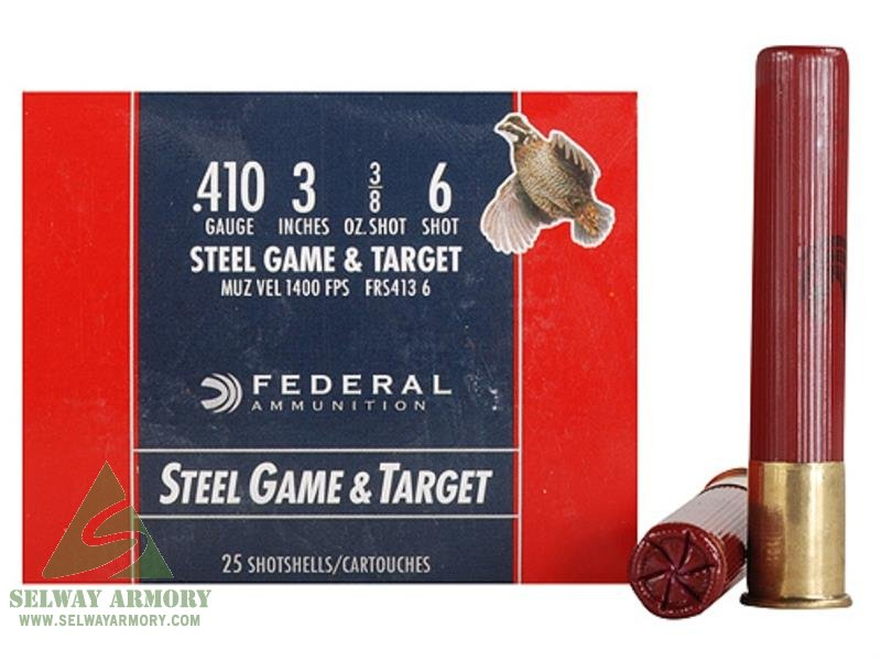 "Federal Game & Target .410 Bore 3"" 3/8 oz #6 Non-Toxic Steel Shot FRS413 6"