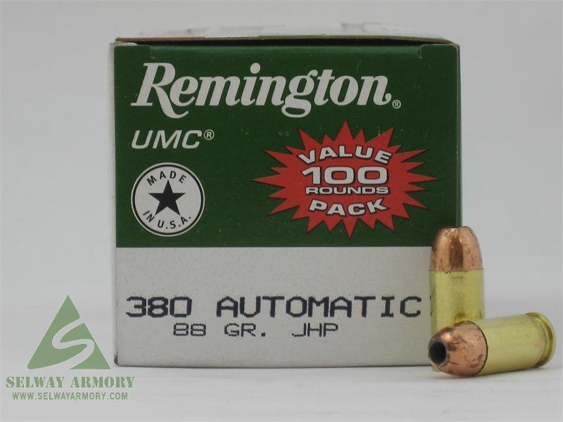 Remington UMC .380 ACP 88 Gr. Jacketed Hollow Point- Value Pack of 100