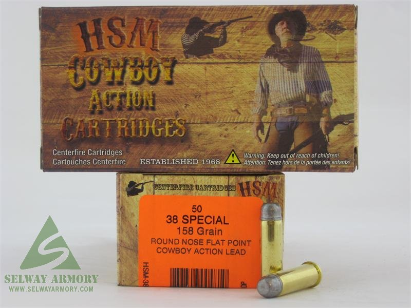"HSM .38 Special 158 Gr. Round Nose Flat Point ""Cowboy Action"" Lead- Box of 50"