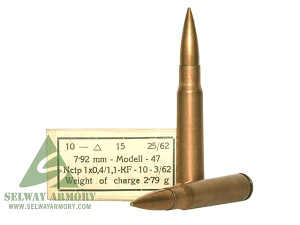 Military Surplus 7.92x57mm Mauser (8mm Mauser) M47 180 Gr. Full Metal Jacket- Box of 15 AM2419A