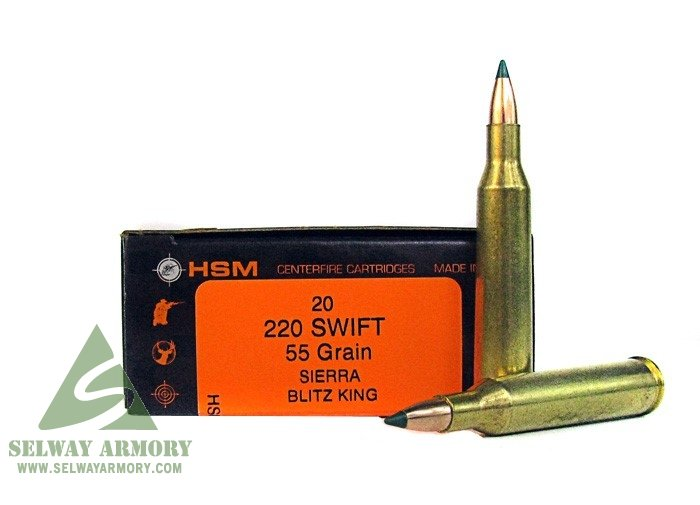HSM  220 Swift 55 Gr  Sierra BlitzKing- Box of 20