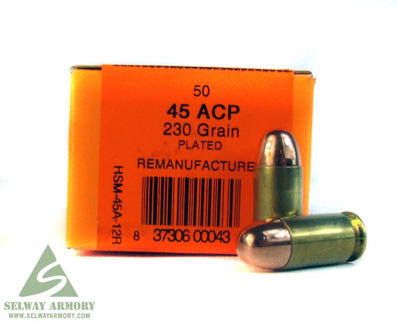 HSM  45 ACP 230gr Plated FMJ - Remanufactured Box of 50 Rounds