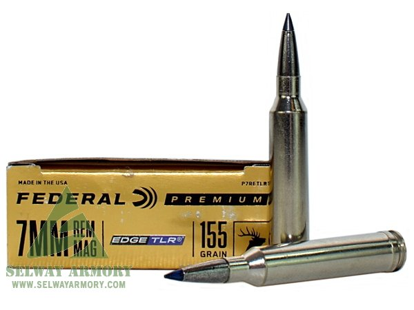 Federal Premium 7mm Remington Magnum 155 Gr Edge TLR Polymer Tipped Bonded Boat Tail Box Of 20