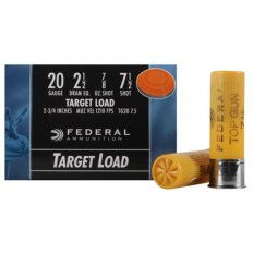 "Federal Top Gun 20 Gauge 2-3/4"" 7/8 oz #7.5 Shot- Box of 25"