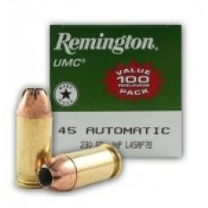 Remington UMC .45 ACP 230 Gr. Jacketed Hollow Point- Box of 100
