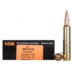 HSM Trophy Gold .300 Remington Ultra Magnum 210 Gr. Berger Hunting VLD Hollow Point Boat Tail BER-300RUM210VLD