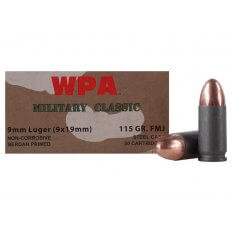 Wolf Military Classic 9mm Luger 115 Gr. FMJ (Bi-Metal)- Box of 50