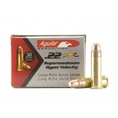 Aguila Super Maximum .22 Long Rifle 30 Gr. Plated Lead Round Nose- Box of 500