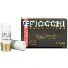 "Fiocchi Exacta LE 12 Gauge 2-3/4"" 00 Buckshot 9 Nickel Plated Pellets- Box of 10"