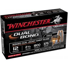 "Winchester Dual-Bond 12 Gauge 2-3/4"" 375 Gr. JHP Sabot Slug- Box of 5"