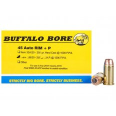 Buffalo Bore .45 Auto Rim +P 200 Gr. Jacketed Hollow Point- Box of 20