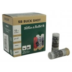 "Sellier & Bellot 12 Gauge 2-3/4"" #4 Buckshot 27 Pellets- Box of 25"