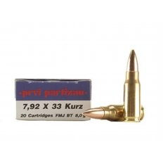 Prvi Partizan 7.92x33 mm Kurz Mauser 124 Gr. Full Metal Jacket Boat Tail- Box of 20