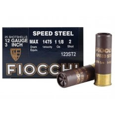 "Fiocchi Speed Steel 12 Gauge 3"" 1-1/8 oz #2 Non-Toxic Steel Shot- Box of 25"
