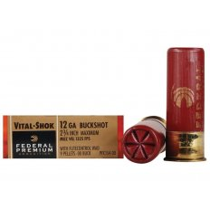 "Federal Premium Vital-Shok 12 Gauge 2-3/4"" Buffered 00 Copper Plated Buckshot 9 Pellets Flitecontrol Wad- Box of 5"