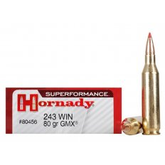 Hornady SUPERFORMANCE GMX .243 Winchester 80 Gr. GMX Boat Tail- Lead-Free- Box of 20