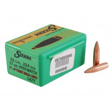 Sierra Bullets .22 Caliber (.224 Diameter) 77 Gr. MatchKing Hollow Point Boat Tail- Box of 50