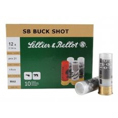 "Sellier & Bellot 12 Gauge 2-3/4"" #4 Buckshot 21 Pellets- Box of 10"