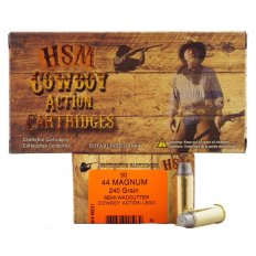 "HSM .44 Magnum 240 Gr. Semi-Wadcutter ""Cowboy Action"" Lead- Box of 50"