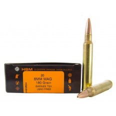 HSM 8mm Remington Magnum 180 Gr. Barnes TSX Hollow Point- Lead-Free- Box of 20