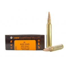 HSM 8mm Remington Magnum 200 Gr. Barnes TSX Hollow Point- Lead-Free- Box of 20