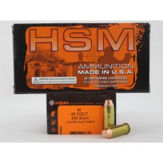 HSM .45 Colt 255 Gr. Plated Flat Point- Box of 50