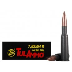 TulAmmo 7.62x54R 148 Gr. Full Metal Jacket (Bi-Metal) Steel Case Berdan Primed- Box of 20