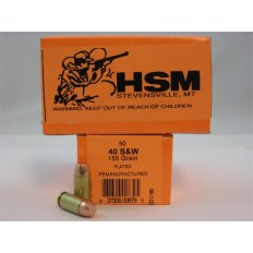 HSM .40 S&W 155 Gr. Plated Flat Point- Remanufactured- Box of 50