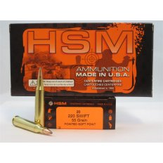 HSM .220 Swift 55 Gr. Pointed Soft Point- Box of 20