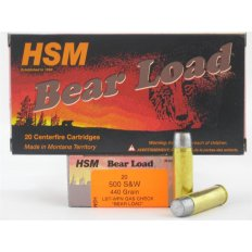 "HSM .500 S&W 440 Gr. Lead WFN Gas Check ""Bear Load"" - Box of 20"