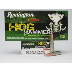 Remington Hog Hammer .300 AAC Blackout 130 Gr. Barnes TSX Bullet Hollow Point- Lead-Free- Box of 20
