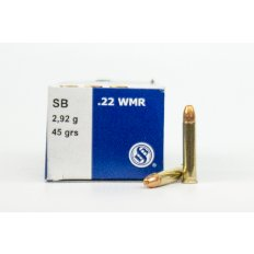 Sellier & Bellot .22 Winchester Magnum Rimfire (WMR) 45 Gr. Copper Plated Round Nose- Box of 50