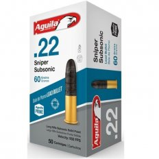 Aguila .22 Long Rifle 60 Gr. SSS Sniper SubSonic Lead Round Nose- 1B222112-50
