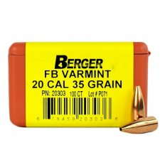 Berger Bullets .20 Caliber (204 Diameter) 35 Gr. Varmint Hollow Point Flat Base 20303
