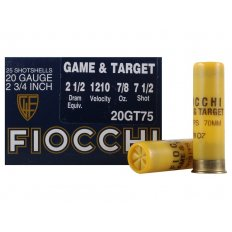 "Fiocchi Game & Target 20 Gauge 2-3/4"" 7/8 oz #7-1/2 Shot- Case of 250"