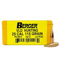 Berger Bullets .25 Caliber (257 Diameter) 115 Gr Hunting VLD HPBT 25513