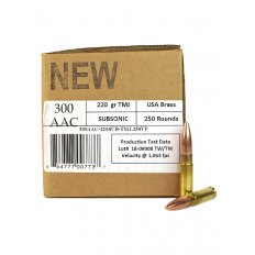 406Ammunition .300 AAC Blackout 220 Gr. Total Metal Jacket Subsonic- Value Pack of 250 300AAC-220SUB-TMJ.250VP