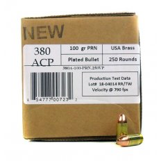 406Ammunition .380 Auto 100 Gr. Plated Round Nose- 380A100250
