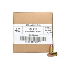 406Ammunition .40 S&W 180 Gr. Plated Flat Point- Value Pack of 250 40180250N