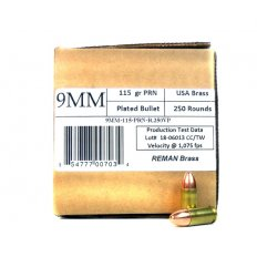 406Ammunition 9mm Luger 115 Gr. Plated Round Nose Remanufactured-  9MM115250R