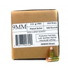 406Ammunition 9mm Luger 115 Gr. Plated Round Nose Remanufactured- 9MM115500