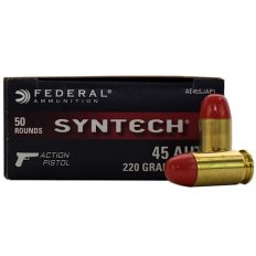 Federal Syntech Action Pistol .45 Auto 230 Gr. Flat Nose Synthetic Jacket- Box of 50 AE45SJAP1