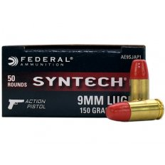 Federal Syntech Action Pistol 9mm Luger 150 Gr. Flat Nose Synthetic Jacket- AE9SJAP1