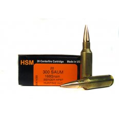 HSM Trophy Gold .300 Remington Short Action Ultra Magnum 168 Gr. Berger Hunting VLD Hollow Point Boat Tail- BER-300SAUM168VLD