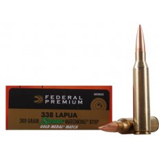Federal Premium Gold Medal .338 Lapua 300 Gr. Sierra MatchKing Hollow Point Boat Tail-  GM338LM2