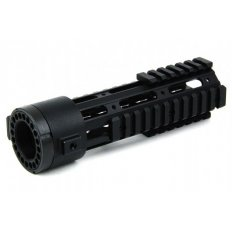 "AR15 Slim Style Free-Float 1-Piece Quad Rail with Detachable Rails 7""- Aluminum Black- HG03-7"