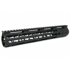 "AR15 Slim KeyMod Free Floating Modular Handguard with Rails- 12"" Rifle Length- Aluminum Black - HG09-12"